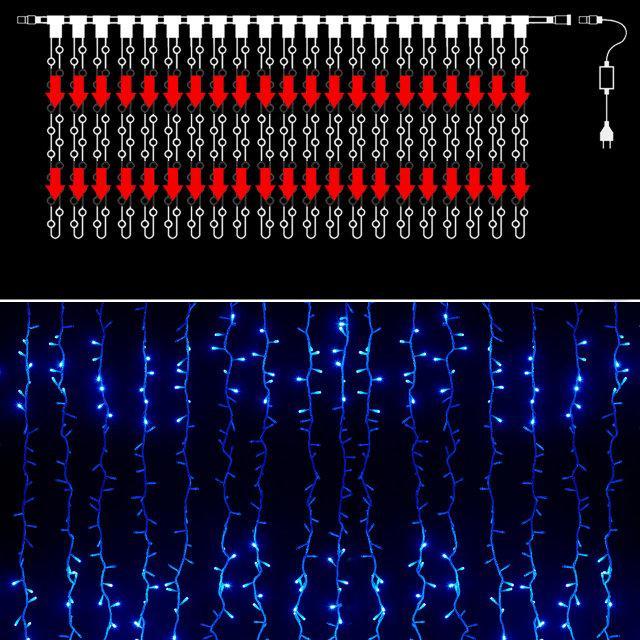 Гірлянда вулична водоспад 576 світлодіодів, синя