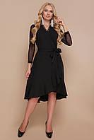 Черное платье на запах с кружевом и воланами Алеся-Б д/р большие размеры