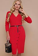 Стильное офисное красное платье миди приталенное с разрезом спереди Элария-Б д/р большие размеры