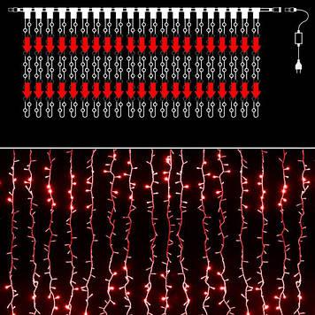 Гирлянда уличная водопад 560 светодиодов, 3 м*2 м, красная