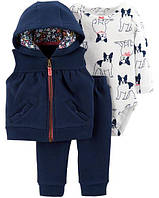 Теплый набор для девочки Carter's жилетка + боди + флисовые штанишки 3 мес/55-61 см