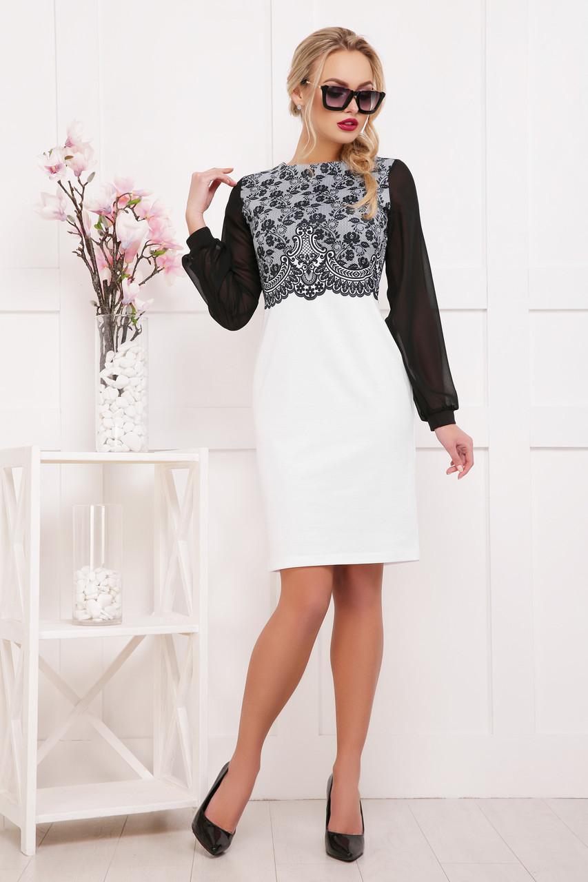 8285b8664b8 Нарядное черно-белое платье по фигуре до колен с рукавами из шифона ...