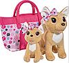 Игровой набор CCL Собачки Чихуахуа Счастливая семья с сумочкой, 20 см и 14 см, 5+
