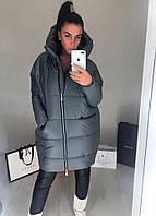 Женская стильная дутая куртка на молнии Батал, фото 1