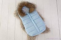 Конверт-мешок для новорожденных Snowman, с опушкой из натурального меха, цвет голубой, фото 1
