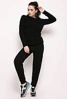Вязаный женский спортивный костюм зимний черный