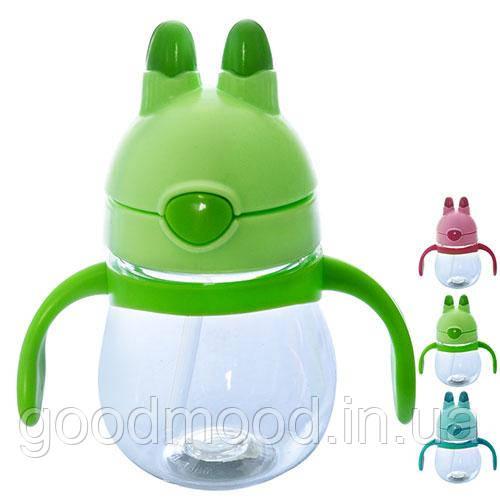 Чашка-поїлка пластик дитяча з ручками, R83603