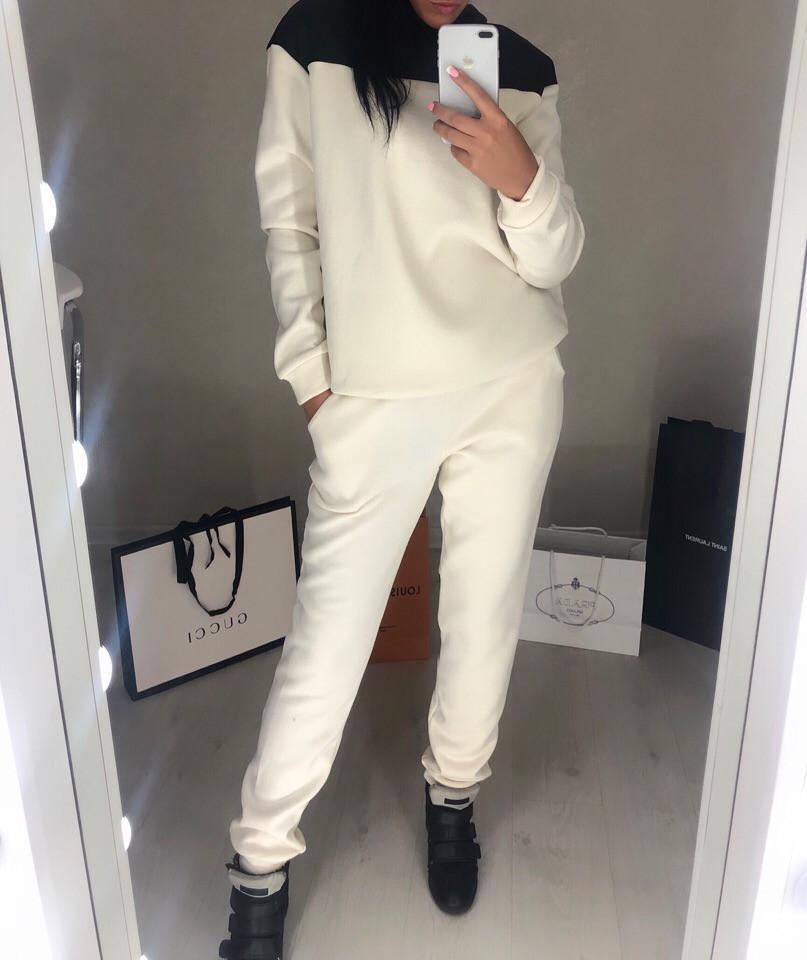Женский утепленный костюм на флисе со вставками плащевки, фото 1