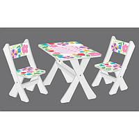 Столик М 2100-22   с 2мя стульчиками, бел, цветочки