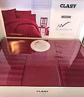 Комплект постельного белья евро сатин цвет бордо  Clasy