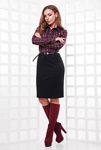 Стильное деловое платье до колен с верхом в клеточку цвет баклажановый