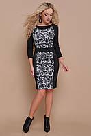 Базовоечерное офисное платье футляр по колено с принтом Узор черный Шанель-П д/р