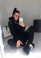 Женский стильный утепленный костюм на флисе с капюшоном, фото 1