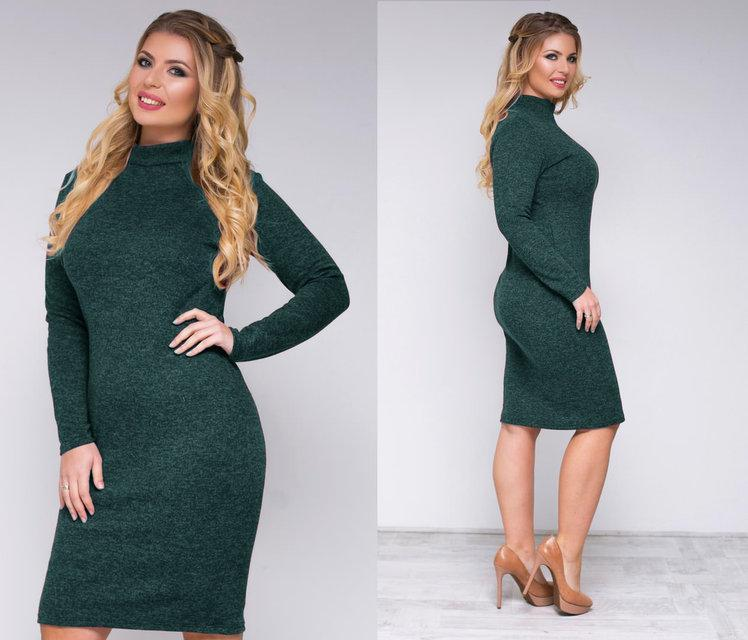 """Теплое платье-гольф большие размеры из ангоры """"Crystall"""" темно-зеленый 50, 52, 54 размеры!"""