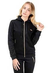 Теплая спортивная кофта женская трикотажная с капюшоном, черная
