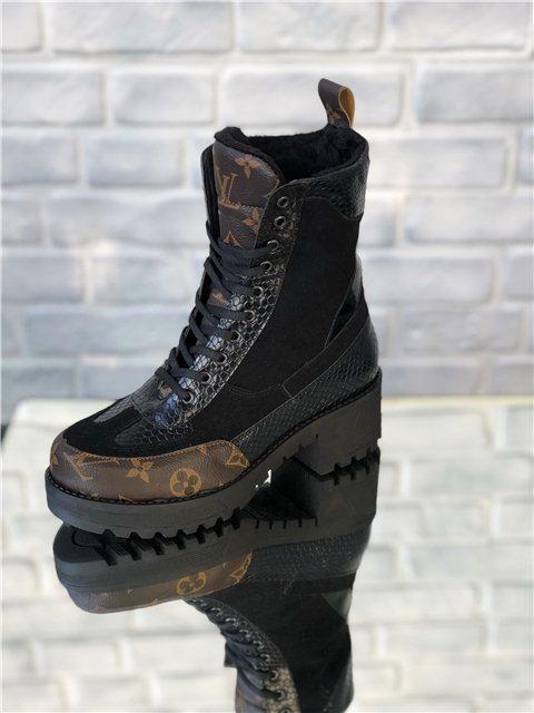 Ботинки женские Louis Vuitton D5129 коричнево-черные - купить по ... 33a1ecca8de