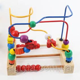 Деревянная игрушка логика, серпантинка, пальчиковый лабиринт, счетики