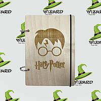Скетчбук с деревянной обложкой А6 не лак Гарри Поттер, фото 1