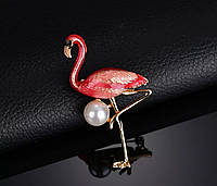 Брошь женская яркая в виде птицы «Розовый фламинго» для девушек нарядная, фото 1