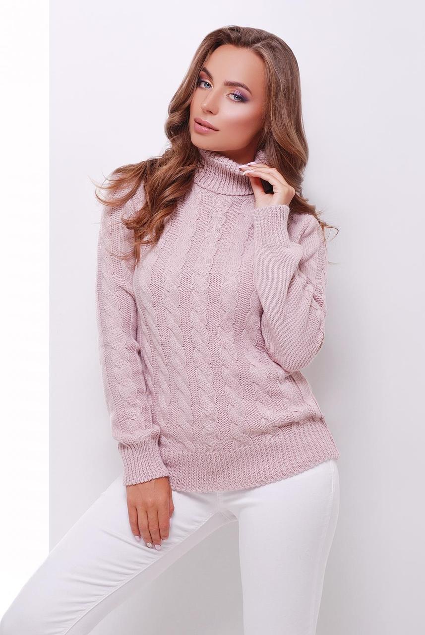 860a8898cfb5 Теплый женский вязаный свитер с воротником под горло в косичку цвет пудра