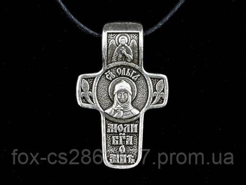Именной нательный посеребренный крест Ольга