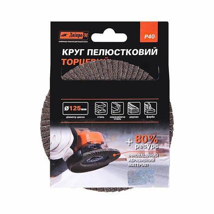Круг лепестковый торцевой Дніпро-М Р40, 1 шт/уп, фото 2