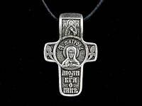 Именной нательный посеребренный крест Матрона