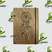 Скетчбук с деревянной обложкой А6 лак Ловец снов, фото 1