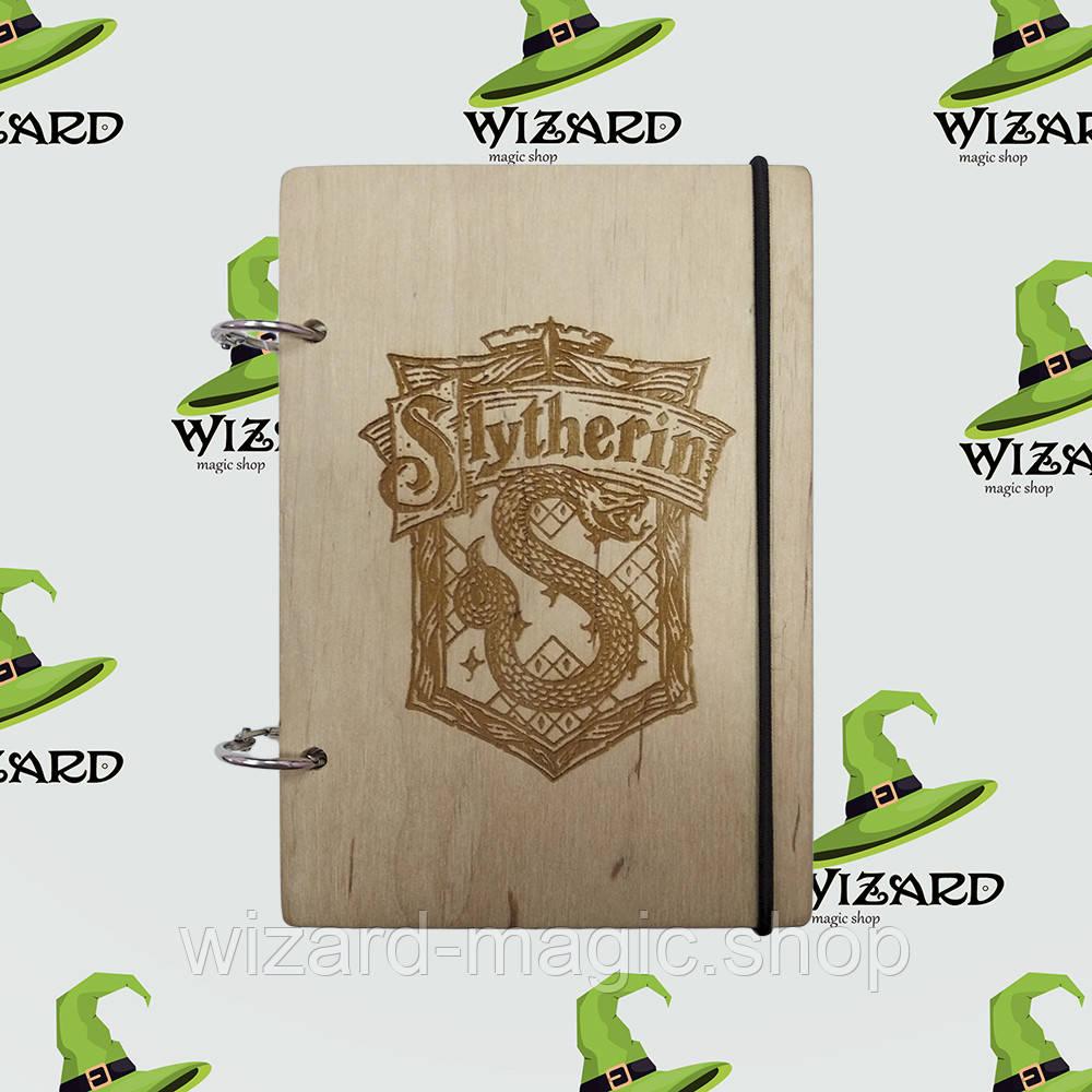 Скетчбук с деревянной обложкой А6 не лак Слизерин