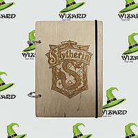 Скетчбук с деревянной обложкой А6 не лак Слизерин, фото 1