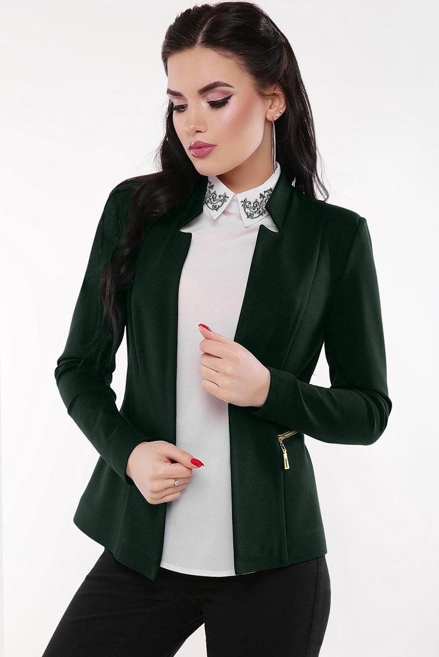 """Стильный женский деловой пиджак без застежки и подклада """"Jacqueline"""" темно-зеленый"""