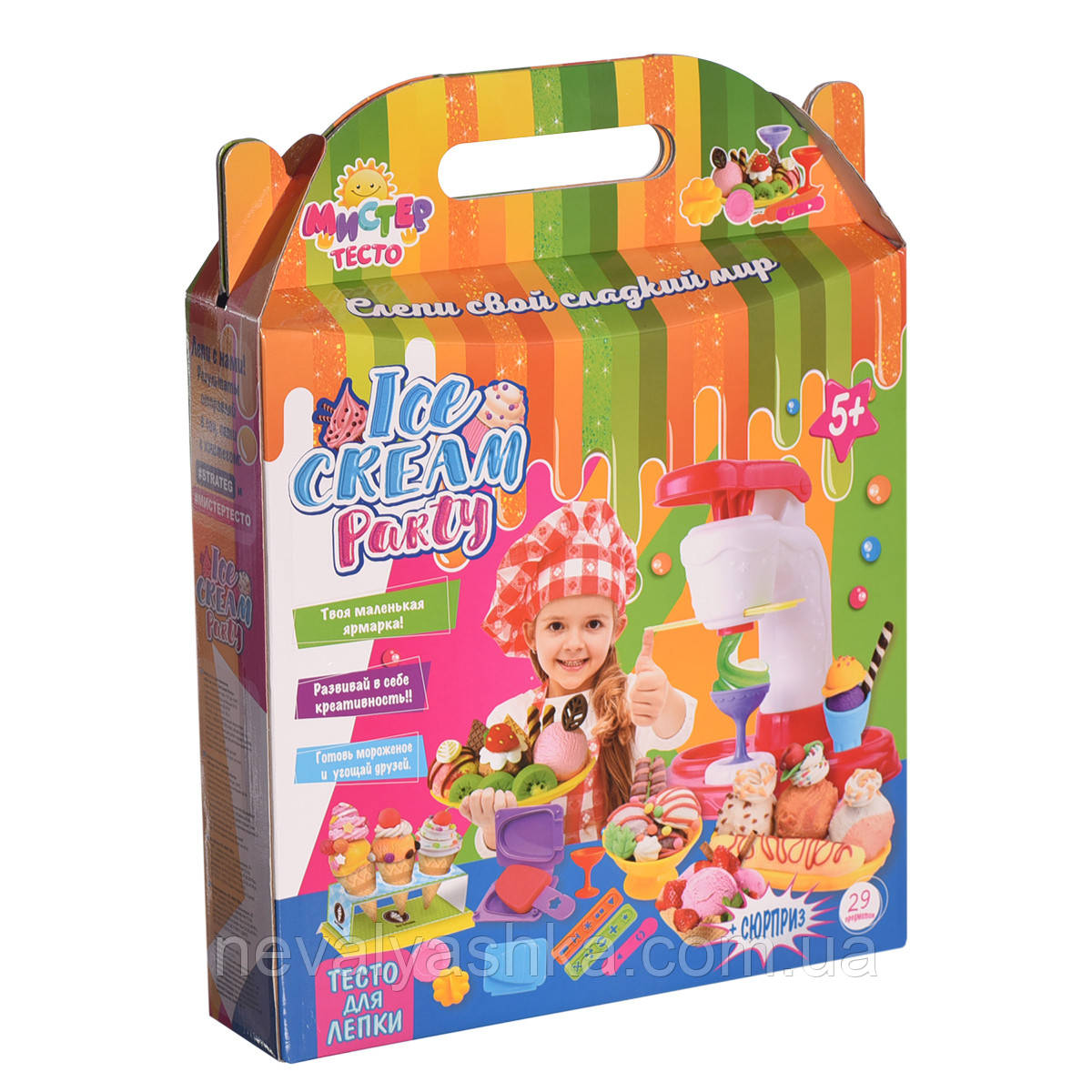 Игровой набор для лепки Мистер тесто Мороженое 29 элем. Ice cream party Стратег Strateg 71208 009834