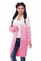"""Модный женский вязаный кардиган оверсайз разноцветный в косичку """"LOLO M"""" Розовый/Молоко"""