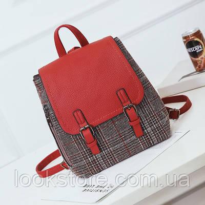 Женский рюкзак драповый красный