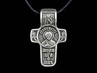 Именной нательный посеребренный крест Петр