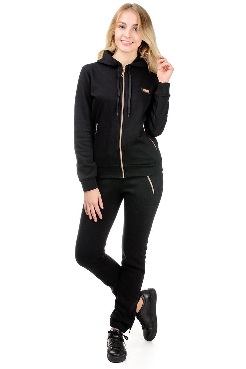 Теплий спортивний костюм жіночий чорний з капюшоном трикотажний штани манжет (гумка) внизу
