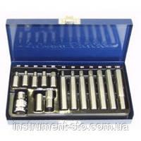 Набор вставок (бит) шестигранных (30 и 75 мм) 4-12 мм, 15 предметов S29H4115S (Jonnesway, Тайвань)