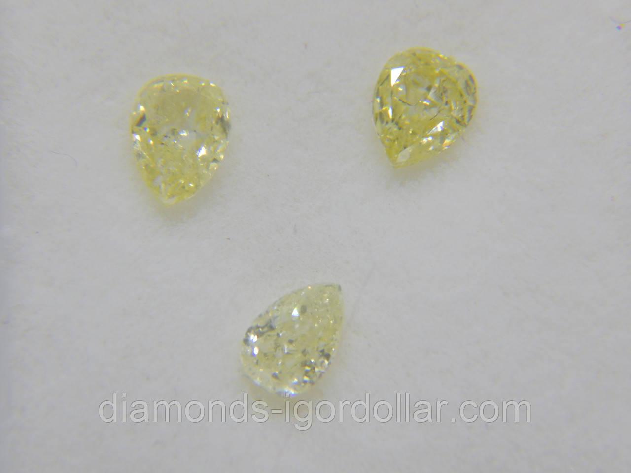 Бриллиант натуральный природный в Украине  0.23 карат Груша/Капля VS/лимонный ВИДЕО