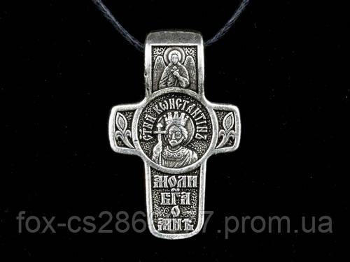 Именной нательный посеребренный крест Константин