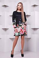 c39dba03df8 Черное платье-трапеция с цветочным принтом Черный букет сукня Тана-1Ф (креп)