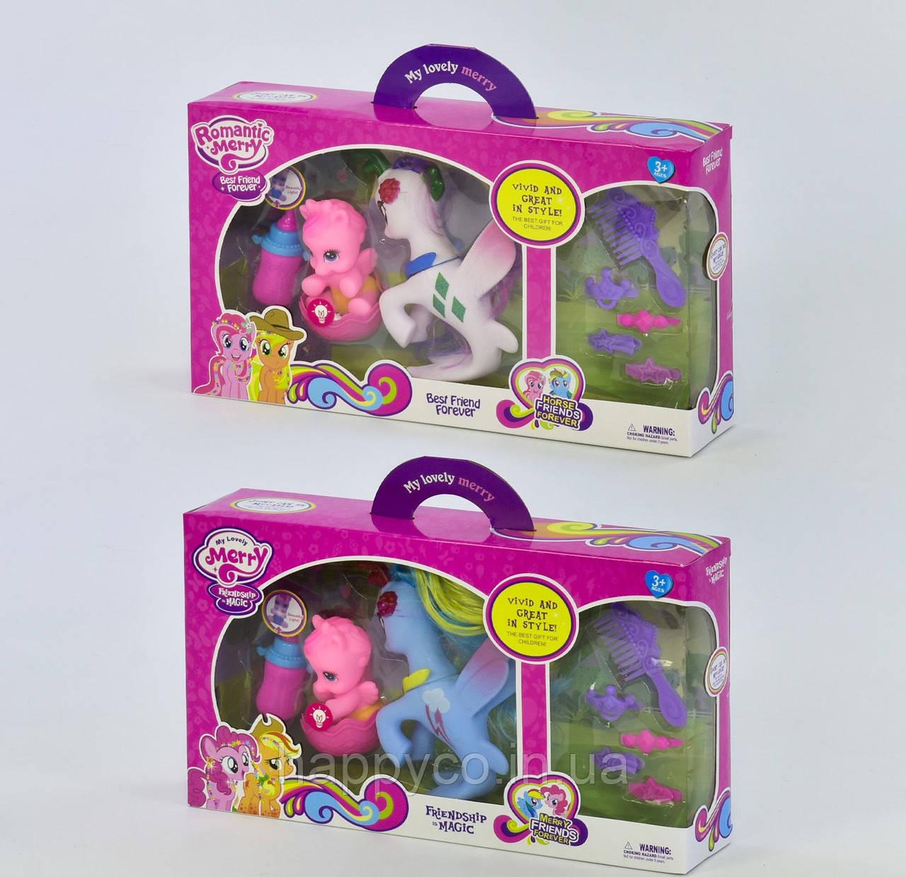 Набор пони с аксессуарами, дракончик светится, в коробке, игрушка  My little pony