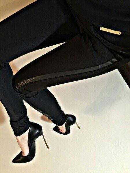 """Лосины леггинсы женские с кожаными вставками """"Лотос"""" черные"""