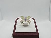 """Серебряное кольцо с золотом """"Метелик"""", фото 1"""