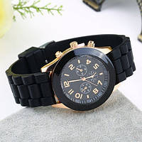 Наручные часы женские Женева большой циферблат силиконовый ремешок, фото 1