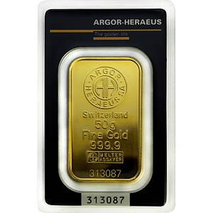 Слиток золота 50 грамм Argor-Heraeus (НОВЫЙ)