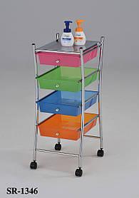 Стеллаж-комодпередвижной с разноцветными ящиками SR 1346