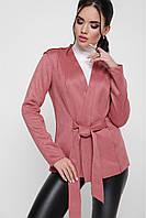 """Женский красивый пиджак под замшу с запахом на поясе """"Virginia"""" пудра"""