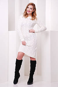 """Однотонное теплое вязаное платье до колен с длинными рукавами """"LILU"""" белое"""
