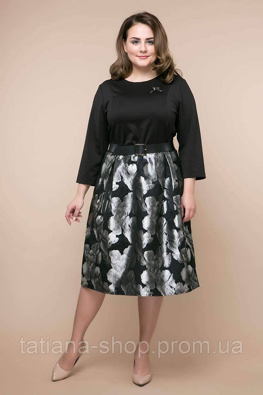 0a8ba4fffb3 Нарядное платье с юбкой из парчи ДЕНИЗ черное - женская одежда оптом от  производителя в Харькове