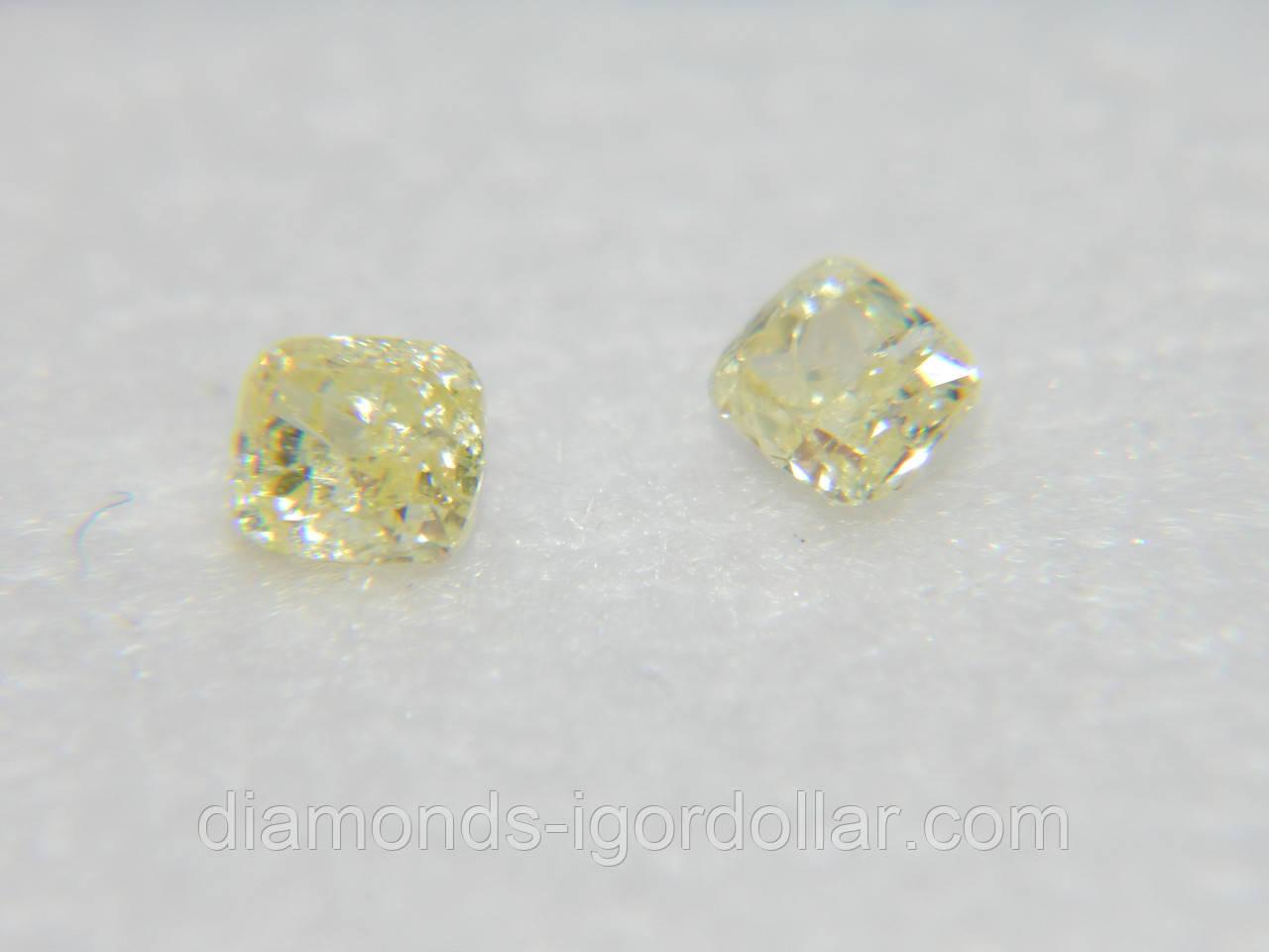 Бриллиант натуральный природный в Украине  0.21 карат Кушон/квадрат VS/лимонный на ВИДЕО